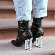384d5fa89c7 Public Desire Patent Boots Dior look alike lucite heel booties. Show Me  Your MuMu Shoes Ankle Boots   Booties