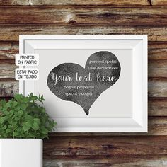 Ideal Valentines gift! YOUR personal love message hand printed fabric art print within a heart by My Home and yours.