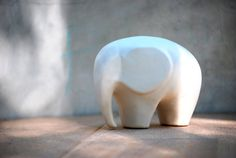 Large Elephant ceramic figurine in snowflake white by claylicious, $32.00