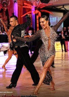 Maurizio Vescovo and Andra Vaidilaite - 3rd in Blackpool prof. latin 2013 | dress by Vesa