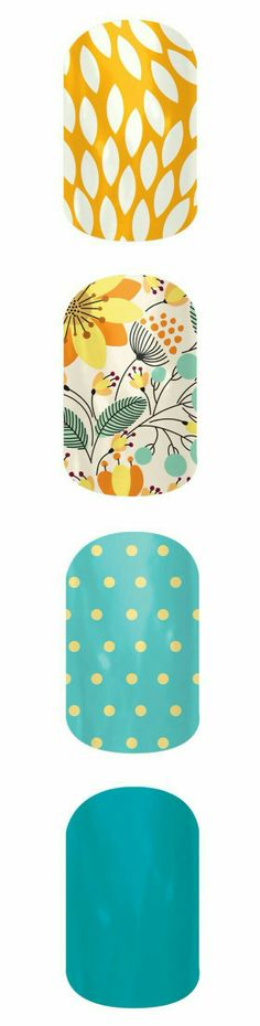 Bright and Cheerful | Jamberry #dots #yellow #teal #mixedmani #floral #jamberrynails #diymanicure