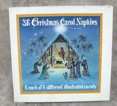 Vintage Box 36 Christmas Carol Napkins 6 Each Of 6 Different Illustrated Carols