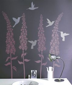 These hummingbird stencils are a perfect add-on to any flowering branch or tree SIZE Birds measure approximately - inches in length - Includes three different hummingbirds - Foxglove flowers sold Stencils, Bird Stencil, Wall Decals, Wall Art, Magnolia Flower, Stencil Designs, Stencil Patterns, Textured Walls, Stores