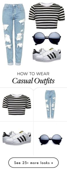 """Casual"" by fkn-princess on Polyvore featuring Topshop, adidas Originals and stripedshirt"