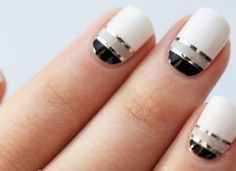 Black, gray, and white #nails
