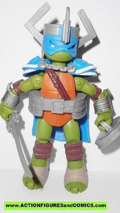 Playmates toys action figures for sale to buy: TEENAGE MUTANT NINJA TURTLES TMNT (Nickelodeon series) 2014 LEONARDO / LEO the KNIGHT 100% COMPLETE (Even includes original file portrait card) condition