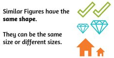 Similar figures have the same shape. They can be the same size or different sizes.