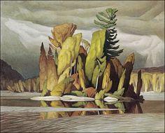 """Group of Seven painter, A. Casson (Ontario """"Little Island. Group Of Seven Artists, Group Of Seven Paintings, Canadian Painters, Canadian Artists, Art And Illustration, Landscape Art, Landscape Paintings, Landscapes, Watercolor Paintings"""