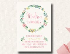 Modern purple flowers floral birthday party invites birthday party boho flower girls birthday invitation mint pink by designonpaper filmwisefo