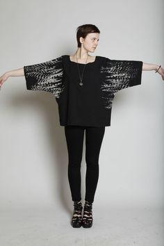 uzi feathers    kimono top.  Available Now.
