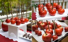 candy apples at the dessert table. love this for a snow white theme