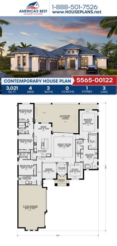 Covered in Contemporary features, Plan 5565-00122 offers 3,021 sq. ft., 4 bedrooms, 3 bathrooms, an outdoor living area, his & her closets, and a breakfast nook. Visit our website to find more details about this Contemporary design. Contemporary House Plans, Contemporary Bathrooms, Contemporary Design, House Layout Plans, House Layouts, Floor Plan Drawing, Floor Framing, Best House Plans, Flat Roof