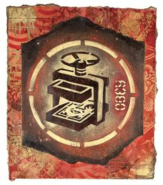 "5,020 Me gusta, 12 comentarios - Shepard Fairey (@obeygiant) en Instagram: ""From the Archives: #ShepardFairey OBEY Turn Stamp, 2011 Material Stencil and Mixed Media Collage…"""