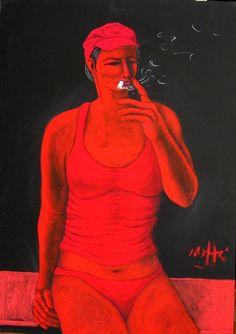 "ArtWorksRoma: 'i rossi' ""Woman smoking"" by Massimo Maffei Smoking, Artist, Women, Artists, Tobacco Smoking, Vaping, Smoke, Woman, Cigar"