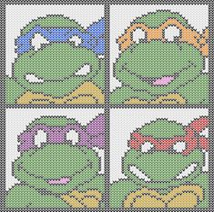 Teenaged Mutant Ninja Turtles knitting charts. Several sizes and outlines for texture work. Free PDF Downloads. TMNT