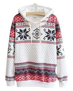 Flocon Ethnique Sweats Encapuchonné neige Pulls capuche Toison Hiver à Minetom Printing de Doux Femme Noël qPT4wpB