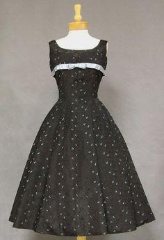 Black Taffeta 1950's Cocktail Dress w/ Turquoise Embroidery - Vintageous, LLC