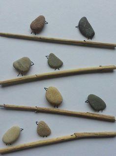 Einzigartiges Bild aus Kieselsteinen *Vögel* von TAMIKRA auf DaWanda.com