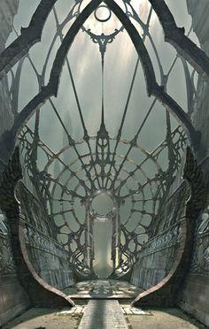 looks like a metal spiderweb entrance