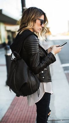 #street #style / leather + leather