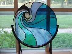 Sea or Sky stained glass panel