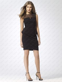 Sleeveless Illusion Neck Black Peplum Dress - http://www.vudress.com/