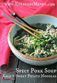 """Spicy Pork Soup with Kale and Sweet Potato """"Noodles"""""""