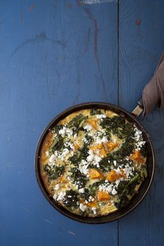Two fall produce favorites are paired here in a frittata that's bursting with color, flavor, and texture. Crumbled goat cheese adds a creamy tang, but you could substitute any other type of grated or crumbled cheese. Sweet Potato and Kale Frittata with Goat Cheese, 4.0 out of 4 based on 5 ratings