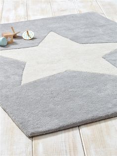 Teppich Stern Baumwolle HELLGRAU Babyzimmer Grau Junge