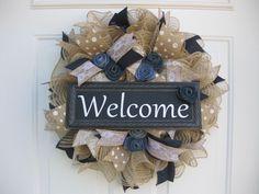 Welcome Wreath Deco Jute Mesh Faux Burlap Denim Lace White Blue Tan Front Door | eBay