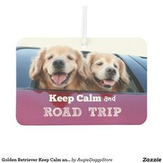 Golden Retriever Keep Calm and Road Trip Car Air Freshener by #AugieDoggyStore