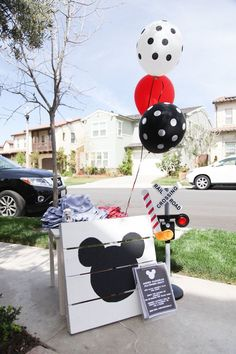 Mickey Mouse Party Sign from a Classic Mickey Mouse Birthday Party on Kara's Party Ideas | KarasPartyIdeas.com (6)