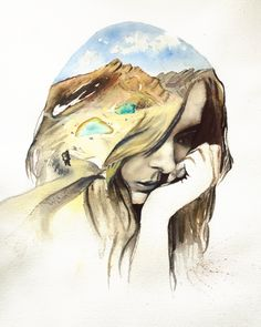 watercolorpainting, tongariro, New Zealand, thoughtful woman -by Josephine Doege