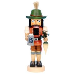 Topped with an old-fashioned Tyrolean hat, the Bavarian Nutcracker exudes good humor. This colorful character is clad in traditional lederhosen, holding a l