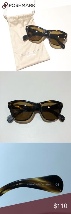 OLIVER PEOPLES tortoise shell sunglasses with bag EUC Oliver People's tortoise shell sunglasses. Can't remember what the model name is. Wore these once, they're too small for my big face lol I can't find the case but I do have the bag carrier... it has a tiny pinhole in the lower left corner (in photo) but doesn't affect use of bag at all. No scratches, excellent condition! Oliver Peoples Accessories Sunglasses