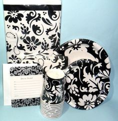 casual black and white party decorations - Google Search & Finley Damask - Party at Lewis Elegant Party Supplies Plastic ...