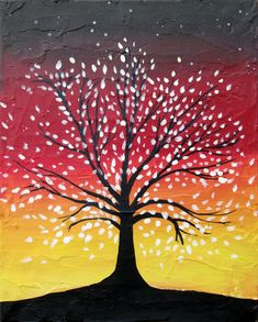 Inspiration for my bedroom painting. Tree of Life silhouette on a colorful, abstract background (only my background will be blues and greens.)