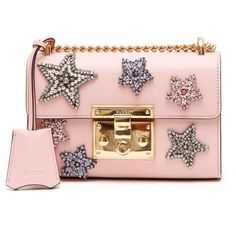 GUCCI 'Padlock' Mini Leather Shoulder Bag With Stars Patches (9.940 BRL) ❤ liked on Polyvore featuring bags, handbags, shoulder bags, gucci, bolsas, purses, hand bags, pink leather handbags, leather hand bags and gucci handbags