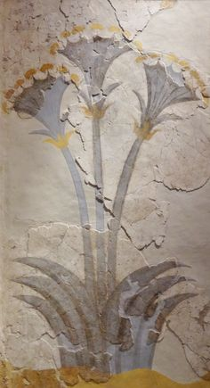 The Papyrus Fresco.This fresco comes from the Room of the Ladies from the house of the same name.The papyrus flowers are shown in groups of three and cover three walls. Beneath the plants may be a river, a common association in both Minoan and Egyptian art. The discovery of ritual vessels within four sealed containers under the floor of the room suggests that it was used as a shrine. (Museum of Prehistoric Thera, Santorini).