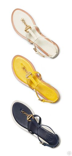The Tory Burch Toggle Flat Sandal: A stripy, sidewalk-friendly flat in smooth leather —  comfortable and versatile