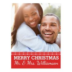 Red Plaid Merry Christmas Mr & Mrs. Photo Postcard - red gifts color style cyo diy personalize unique