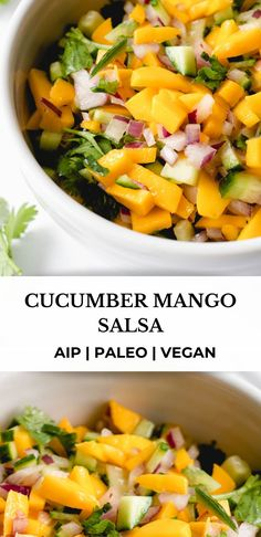 This Cucumber Mango Salsa is a fresh and bright salsa that's nightshade free and perfect for snacking, or as an accompaniment to grilled meats and veggies. This recipe is AIP, paleo, vegan and Whole30 compliant. #healmedelicious #aip #aiprecipes #paleorecipes #paleo #whole30recipes #whole30 #vegan #autoimmunedisease #aipdiet #autoimmunepaleo #aipprotocol #nightshadefree #coconutfree #dairyfree #healthydinnerrecipes #dinnerideas #breakfastideas #mangosalsa #sides #toppings #tacos #salads Paleo Dinner, Healthy Dinner Recipes, Healthy Food, Easy Whole 30 Recipes, Side Recipes, Paleo Appetizers, Appetizer Recipes, Black Food, Mango Salsa