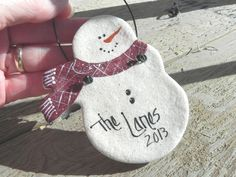 Personalized Salt Dough Snowman ~ A cute neighbor or friendship ornament! Handcrafted in salt dough, hand painted and personalized by me. Ornament is sealed with a brushed coat of varnish and fitted w