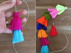 DIY Tassel Bag Charm I never met a tassel I didn't love. So when I stumbled upon a ridiculously affordable lot of colorful, cotton tassels, I immediately snatched some up … Yarn Crafts, Diy And Crafts, Arts And Crafts, Beaded Beads, Craft Projects, Sewing Projects, Project Ideas, Tassel Keychain, Diy Tassel Earrings