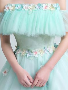 Mint Green Quinceanera Dress Off The Shoulder Tulle Princess Pageant Dress Flower Lace Floor Length Prom Dress Girls Pageant Dresses, Little Girl Dresses, Homecoming Dresses, Robes Quinceanera, Pretty Quinceanera Dresses, Quince Dresses, Flower Dresses, Purple Bridesmaid Dresses, Wedding Dresses