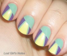 geometric manicure - color blocked using striping tape
