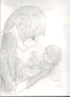 """Fannah, Shahar..."" by Maggie Rice. Okay, so this is a sketch of Breeta and her mother. And it's not very good. :P"