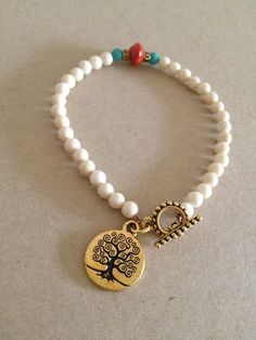 Tree of Life - Coral & Turquoise Riverstone Toggle Bracelet on Etsy, $16.00