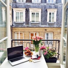 breakfast + working outside on the balcony