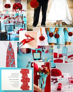Azul Tiffany e Vermelho